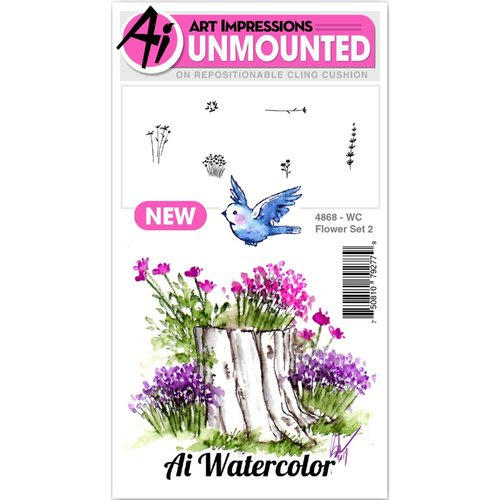 Art Impressions - Watercolor Collection - Unmounted Rubber Stamp Set - Flower 2