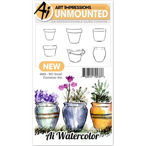 Art Impressions - Watercolor Collection - Unmounted Rubber Stamp Set - Small Container