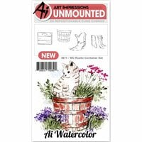 Art Impressions - Watercolor Collection - Unmounted Rubber Stamp Set - Rustic Container