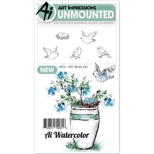 Art Impressions - Watercolor Collection - Unmounted Rubber Stamp Set - Birds