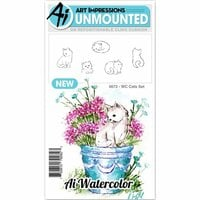 Art Impressions - Watercolor Collection - Unmounted Rubber Stamp Set - Cats