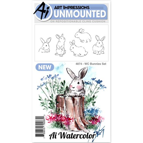 Art Impressions - Watercolor Collection - Unmounted Rubber Stamp Set - Bunnies
