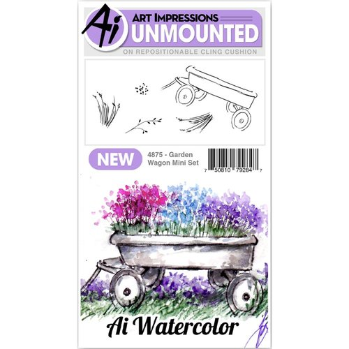 Art Impressions - Watercolor Collection - Unmounted Rubber Stamp Set - Garden Wagon Mini