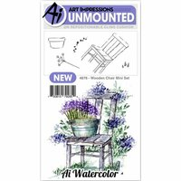 Art Impressions - Watercolor Collection - Unmounted Rubber Stamp Set - Wooden Chair Mini