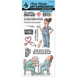 Art Impressions - Work and Play Collection - Unmounted Rubber Stamp Set - Proud Nurse