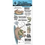 Art Impressions - Work and Play Collection - Unmounted Rubber Stamp Set - Reel Great Guys