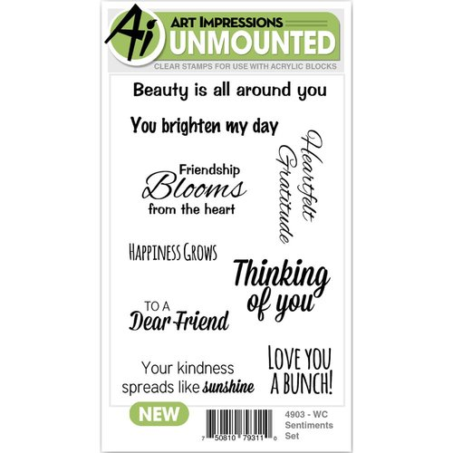 Art Impressions - Watercolor Collection - Clear Photopolymer Stamp Set - Sentiments