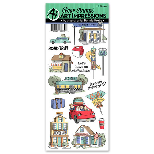 Art Impressions - Work and Play Collection - Clear Photopolymer Stamp Set - Road Trip