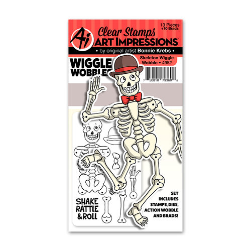 Art Impressions - Wiggle Wobbles Collection - Stamp and Die Set - Skeleton