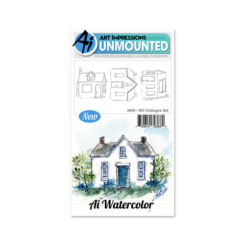 Art Impressions - Watercolor Collection - Unmounted Rubber Stamp Set - Cottages