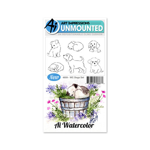 Art Impressions - Watercolor Collection - Unmounted Rubber Stamp Set - Dogs