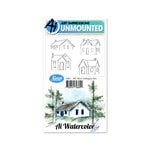 Art Impressions - Watercolor Collection - Unmounted Rubber Stamp Set - Mini Cottages