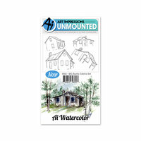 Art Impressions - Watercolor Collection - Unmounted Rubber Stamp Set - Rustic Cabins
