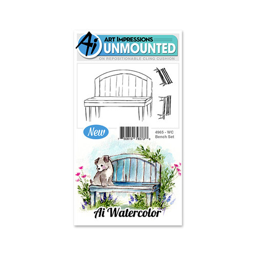Art Impressions - Watercolor Collection - Unmounted Rubber Stamp Set - Bench
