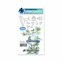 Art Impressions - Watercolor Collection - Unmounted Rubber Stamp Set - Bird Bath