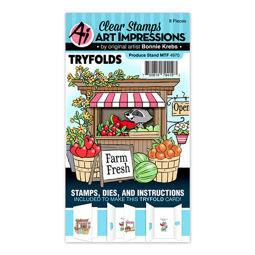 Art Impressions - Mini Tryfolds Collection - Stamp and Die Set - Produce Stand