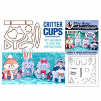 Art Impressions - Stamp and Die Set - Critter Cups