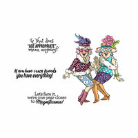 Art Impressions - Girlfriends Collection - Unmounted Rubber Stamp Set - Crazy Friends