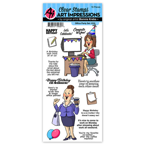 Art Impressions - Work and Play Collection - Clear Photopolymer Stamp Set - Office Party
