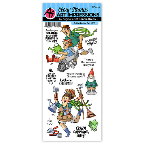 Art Impressions - Work and Play Collection - Clear Photopolymer Stamp Set - Gotta Garden