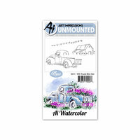 Art Impressions - Watercolor Collection - Unmounted Rubber Stamp Set - Truck Mini