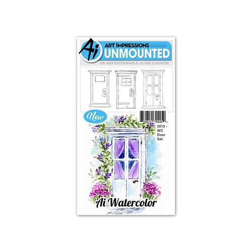 Art Impressions - Watercolor Collection - Unmounted Rubber Stamp Set - Door
