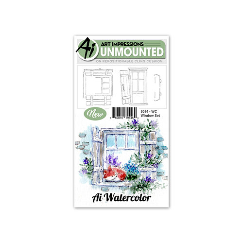 Art Impressions - Watercolor Collection - Unmounted Rubber Stamp Set - Window
