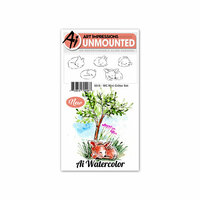 Art Impressions - Watercolor Collection - Unmounted Rubber Stamp Set - Mini Critter