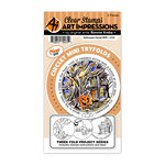 Art Impressions - Circlet Mini Tryfolds Collection - Stamp and Die Set - Halloween