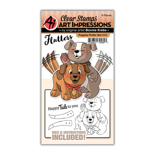 Art Impressions - Flutter Collection - Stamp and Die Set - Puppies
