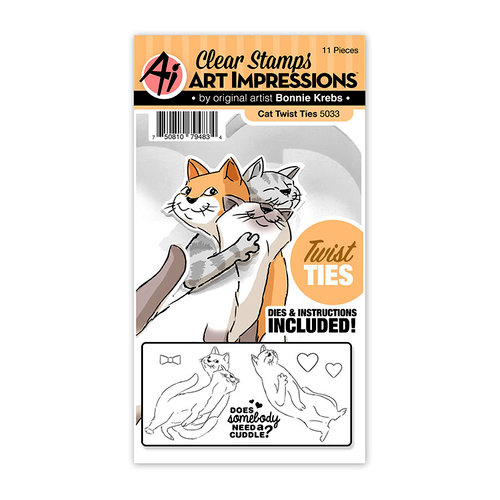 Art Impressions - Twist Ties Collection - Stamp and Die Set - Cat