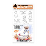 Art Impressions - Watercolor Collection - Unmounted Rubber Stamp Set - Little Girls