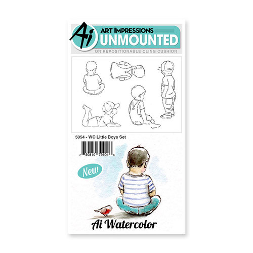 Art Impressions - Watercolor Collection - Unmounted Rubber Stamp Set - Little Boys