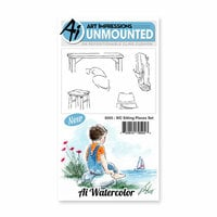 Art Impressions - Watercolor Collection - Unmounted Rubber Stamp Set - Sitting Places