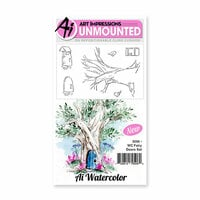 Art Impressions - Watercolor Collection - Unmounted Rubber Stamp Set - Fairy Doors