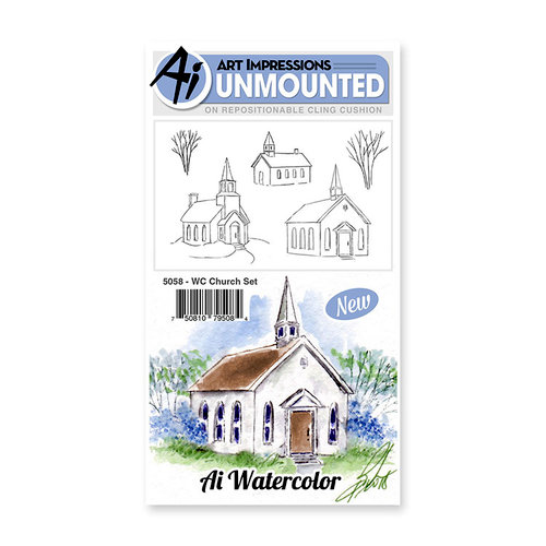 Art Impressions - Watercolor Collection - Unmounted Rubber Stamp Set - Church
