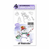 Art Impressions - Watercolor Collection - Unmounted Rubber Stamp Set - Snowman