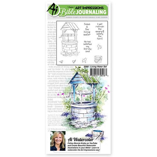 Art Impressions - Bible Journaling Collection - Unmounted Rubber Stamp Set - Living Water