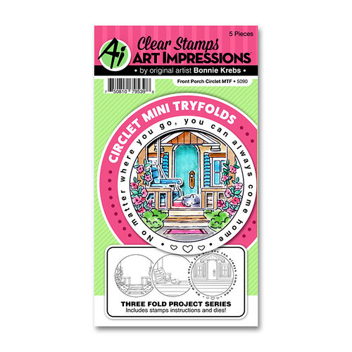 Art Impressions - Circlet Mini Tryfolds Collection - Stamp and Die Set - Front Porch