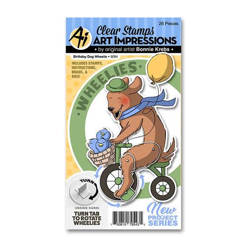 Art Impressions - Wheelies Collection - Stamp Brad and Die Set - Birthday Dog