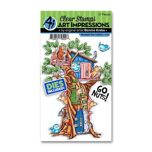Art Impressions - Cubbies Collection - Stamp and Die Set - Woodland Tree