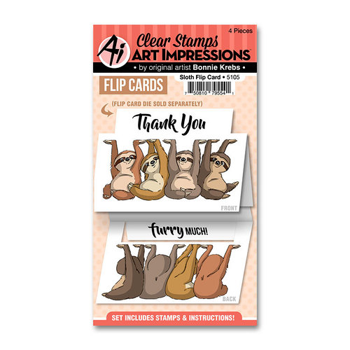 Art Impressions - Flip Card Collection - Clear Photopolymer Stamp Set - Sloth
