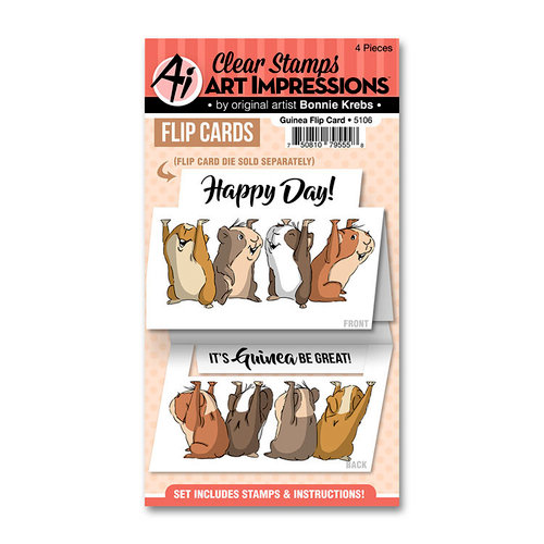 Art Impressions - Flip Card Collection - Clear Photopolymer Stamp Set - Guinea