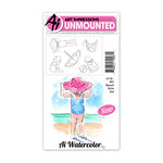 Art Impressions - Watercolor Collection - Unmounted Rubber Stamp Set - Beach Girls