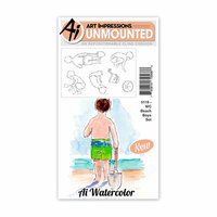 Art Impressions - Watercolor Collection - Unmounted Rubber Stamp Set - Beach Boys