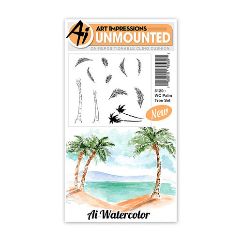 Art Impressions - Watercolor Collection - Unmounted Rubber Stamp Set - Palm Tree