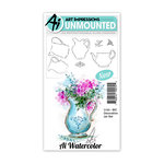 Art Impressions - Watercolor Collection - Unmounted Rubber Stamp Set - Decorative Jar