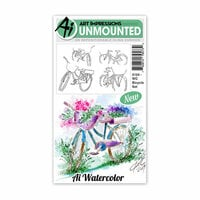 Art Impressions - Watercolor Collection - Unmounted Rubber Stamp Set - Bicycle
