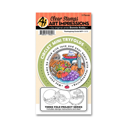 Art Impressions - Circlet Mini Tryfolds Collection - Stamp and Die Set - Thanksgiving