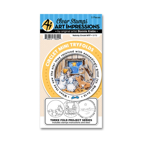 Art Impressions - Christmas - Circlet Mini Tryfolds Collection - Stamp and Die Set - Nativity